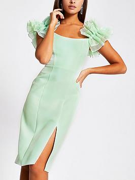 River Island River Island Ruffle Organza Sleeve Bardot Midi Dress - Mint Picture