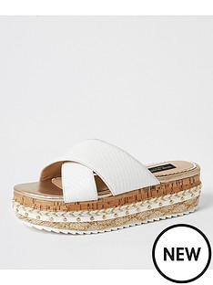 river-island-wide-fit-cross-strap-flatform-slide-white