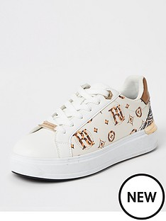 river-island-printed-monogram-lace-up-trainer-cream