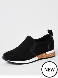 river-island-perforated-cork-runners-black