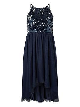 Monsoon Monsoon Girls Saskia Two Way Sequin Prom Dress - Navy Picture