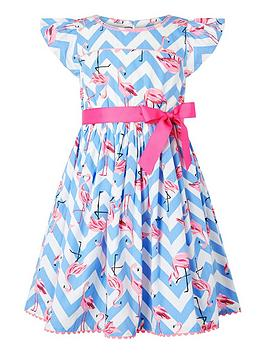 Monsoon Monsoon Girls S.E.W. Adrienne Flamingo Dress - Blue Picture