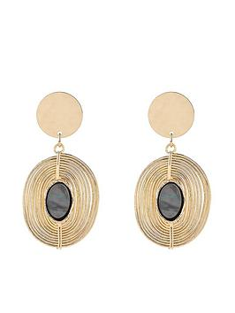 Accessorize Shell Spiral Drop Earrings - Gold
