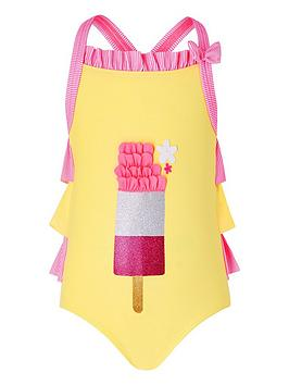 Monsoon Monsoon Baby Girls Ice Lolly Swimsuit - Yellow Picture
