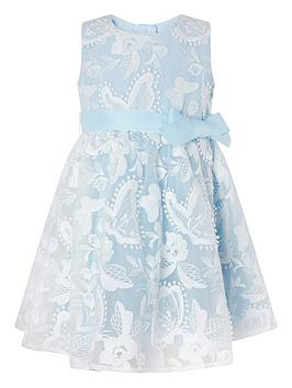 Monsoon Monsoon Baby Girls Sophia Blue Butterfly Lace Dress - Blue Picture