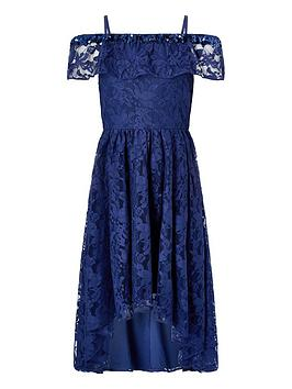 Monsoon Monsoon Girls Lucy Lace Bardot Dress - Navy Picture