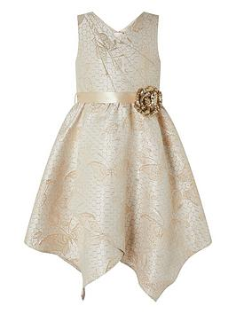 Monsoon Monsoon Girls Honey Gold Jacquard Wrap Dress - Gold Picture