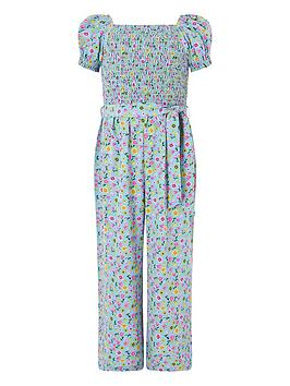 Monsoon Monsoon Girls Hester Ditsy Jumpsuit - Blue Picture