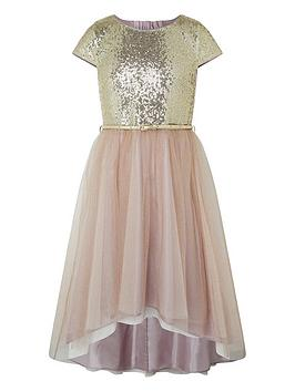 Monsoon Monsoon Girls Kylie Cap Sleeve Tiered Prom Dress - Gold Picture
