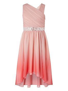 Monsoon Monsoon Girls Abbey Dip Dye One Shoulder Prom Dress - Pink Picture