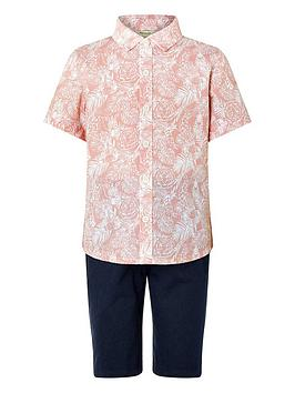 Monsoon Monsoon Boys George Shirt And Short Set - Pink Picture
