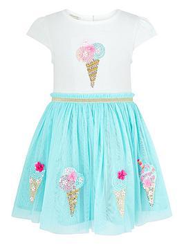 Monsoon Monsoon Baby Girls Ice Cream Disco Dress - Aqua Picture