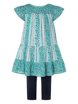 Monsoon Monsoon Girls Mischa Leopard Tunic & Legging Set - Green Picture