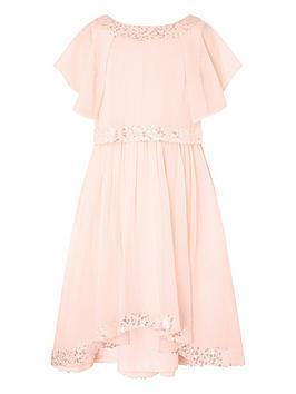 Monsoon Monsoon Girls Meghan Hi Low Sequin Dress - Peach Picture