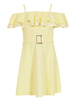 River Island River Island Girls Lace Bardot Skater Dress-Yellow Picture