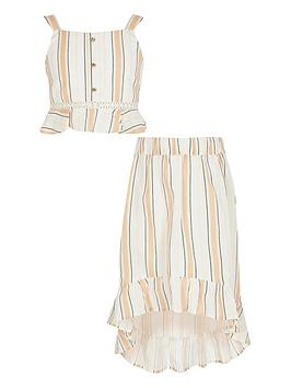 River Island River Island Girls Stripe Frill Crop And Skirt Set - Beige Picture