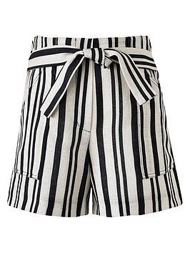 River Island River Island Girls Tie Waist Stripe Shorts - Beige Picture
