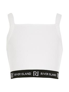 River Island River Island Girls Ribbed Cropped Top - White Picture