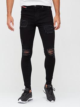11-degrees-essential-super-stretch-distressed-jeans-skinny-fit-black