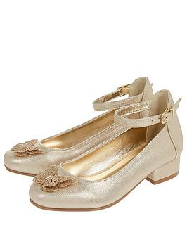 Monsoon Monsoon Girls Fluttering Butterfly Mini Heel Shoes - Gold Picture