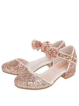 Monsoon Monsoon Girls Abilene Glitter Corsage Two Part Shoe - Rose Gold Picture