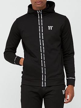11-degrees-maize-pique-repeat-binding-full-zip-hoodie-blacknbsp
