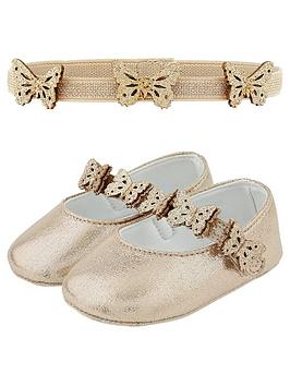 Monsoon Monsoon Baby Girls Savannah Bootie And Bando Set - Gold Picture