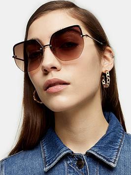 Topshop Topshop Marissa Sunglasses - Gold Picture