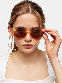 Topshop Topshop Plastic Diamond Sunglasses - Gold Picture