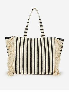 dorothy-perkins-stripe-fringe-shopper-bagnbsp--neutral