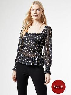 dorothy-perkins-shirred-power-mesh-ditsy-print-square-neck-topnbsp--black