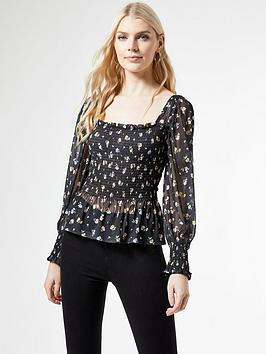 dorothy-perkins-shirred-power-mesh-ditsy-print-square-neck-topnbsp--black