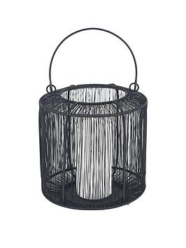 Pacific Lifestyle Matt Black Mesh Metal Round Lantern