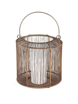 Pacific Lifestyle Antique Brass Mesh Metal Round Lantern