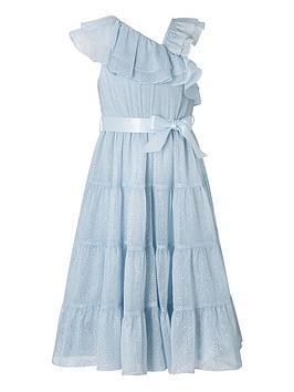Monsoon Monsoon Girls Grace Asymmetric Tiered Maxi Dress - Blue Picture