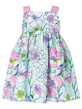 Monsoon Monsoon S.E.W. Baby Girls Octavia Linen Mix Dress - Mint Picture