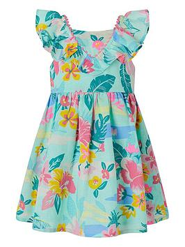 Monsoon  S.E.W. Baby Girls Petunia Linen Mix Dress - Aqua