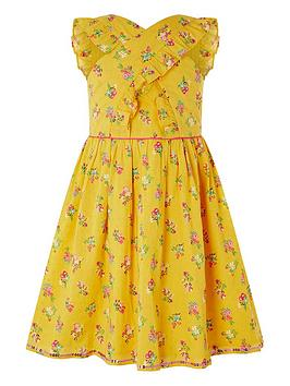 Monsoon Monsoon Girls S.E.W. Grace Cross Front Dress - Yellow Picture