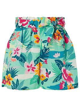 Monsoon Monsoon Girls S.E.W. Petunia Linen Shorts - Green Picture