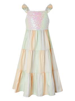 Monsoon Monsoon Girls Sunset Sequin Jacquard Tier Maxi Dress - Multi Picture