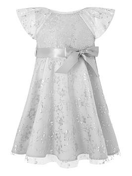 Monsoon Monsoon Baby Girls Millie Sequin Dress - Silver Picture