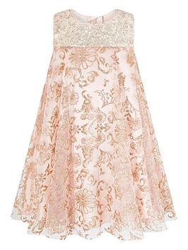 Monsoon Monsoon Baby Girls Riona Glitter Print Dress - Pink Picture