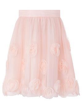 Monsoon Monsoon Girls 3D Roses Skirt - Dusky Pink Picture