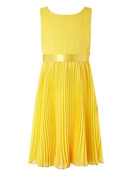 Monsoon Monsoon Girls Keita Pleat Dress - Yellow Picture