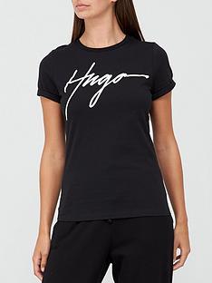 hugo-slogan-slim-t-shirt-black