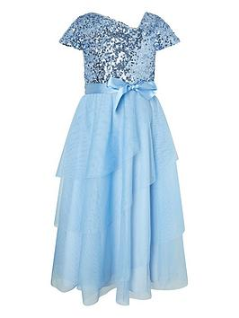 Monsoon Monsoon Girls Florabelle Sequin Tiered Maxi Dress - Blue Picture