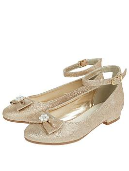 Monsoon Monsoon Girls Rebecca Glitter Bow Shoe - Gold Picture