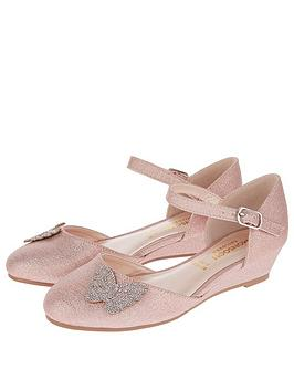Monsoon Monsoon Girls Nina Diamante Butterfly Wedge Shoes - Pink Picture