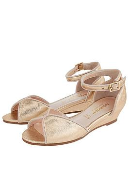 Monsoon Monsoon Girls Dawn Shimmer Wedge Sandals - Gold Picture