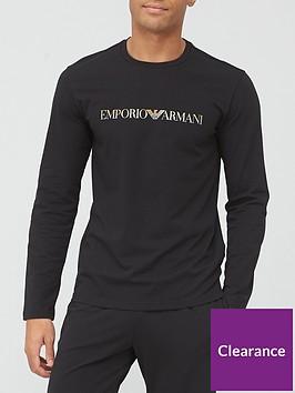 emporio-armani-bodywear-gold-logo-lounge-top-black